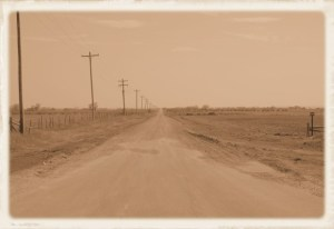 down a red dirt road
